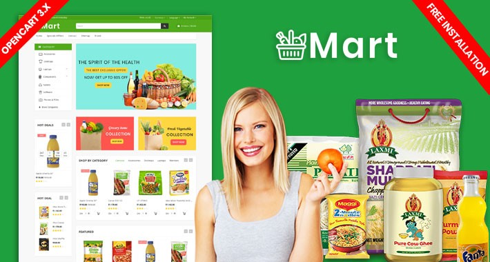Mart Grocery and organic Responsive Theme (Free installation)