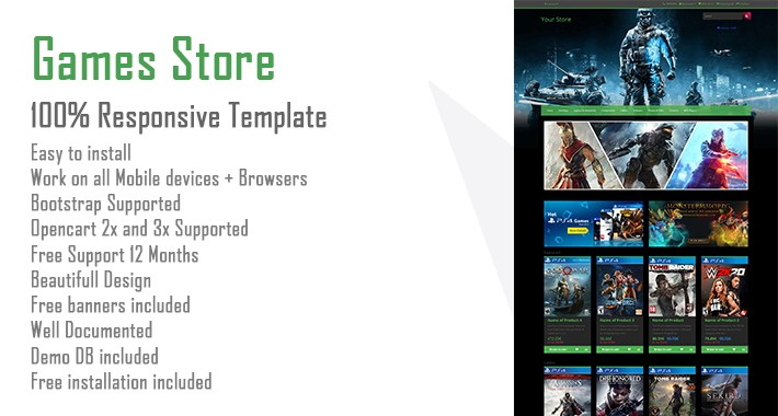 Opencart Games Store Template