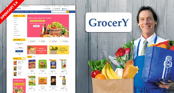 Blue Grocery and organic Shopping Theme (Free installation)