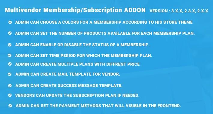 Multivendor Membership/Subscription ADDON