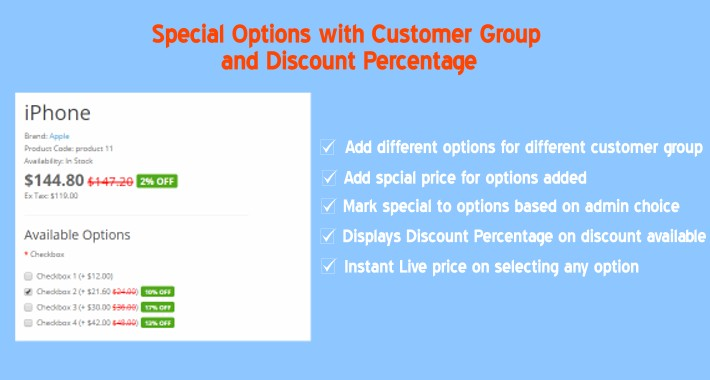 Special Options with Customer Group and Discount Percentage