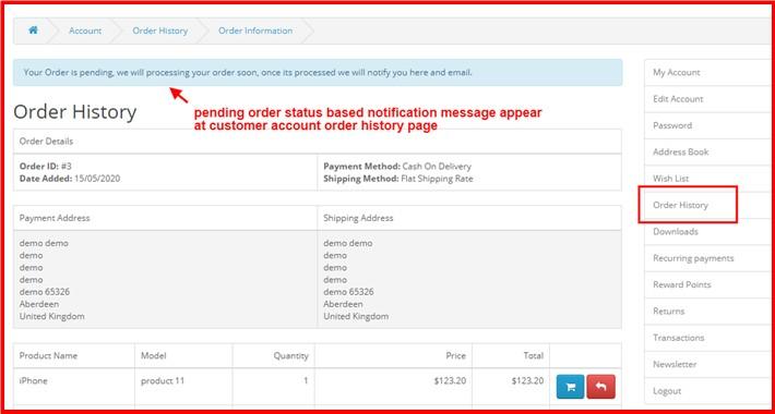 Order Status Based Notification At Customer Order History