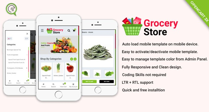 Mobile Theme for Grocery Store