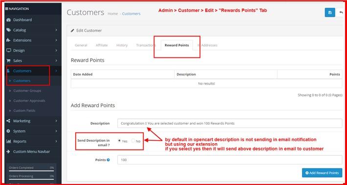 Send Description In Customer Rewards Points Email