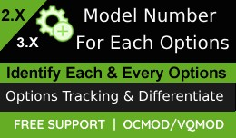 Model number for each option