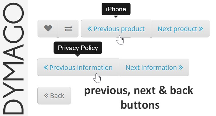 previous, next and back buttons