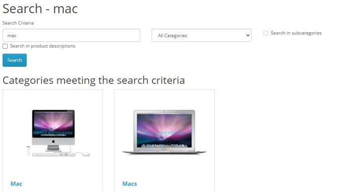 Categories In Search Results