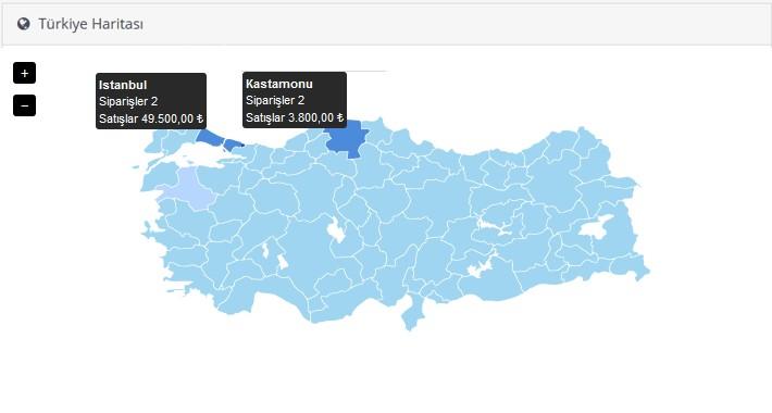 Türkiye Haritası - Admin Panel (Dashboard Turkey Map)