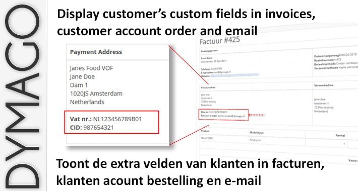 Custom Fields on invoice + / extra velden op factuur +