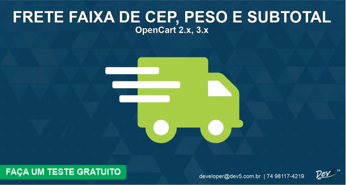 Frete por Faixa de CEP, Peso e SubTotal - Dev5™