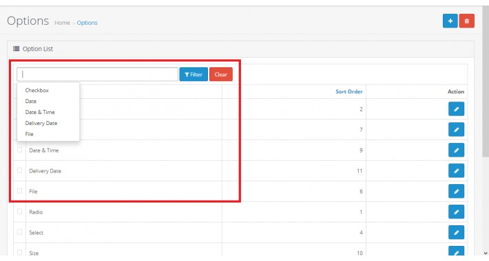 Admin Product Options Filter