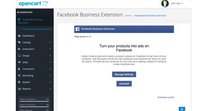 Facebook for OpenCart
