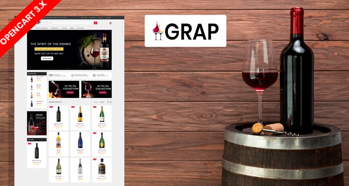 Grap wine & Drink Ecommrce Opencart Website Template