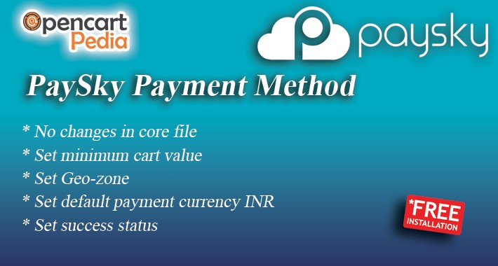 Opencart - PaySky Payment Gateway OCMOD Version 2.x, 3.x
