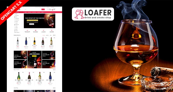 Loafer Wine & Drink Ecommrce Opencart Website Template