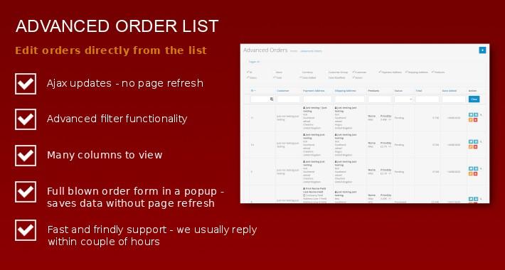 Advanced Orders List