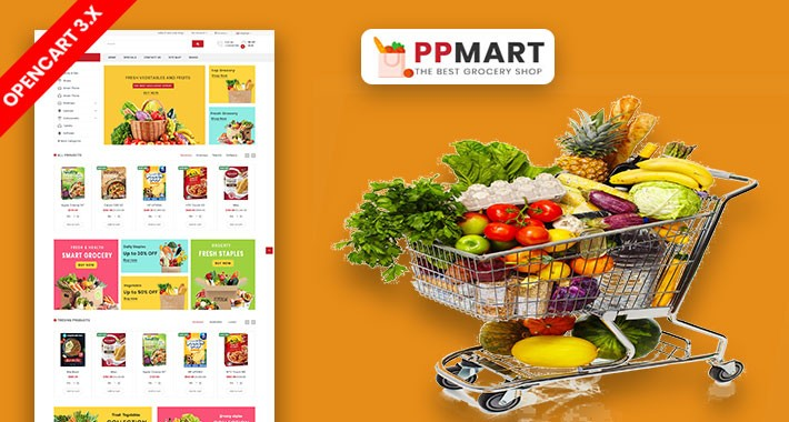 PP Mart Grocery Ecommrce Website Opencart Template