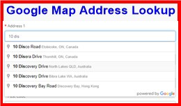 Google Map Address Lookup