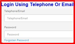 Login Using Telephone Or Email