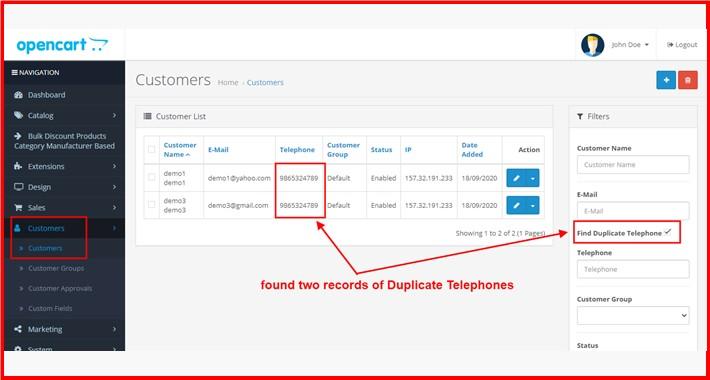 Find Duplicate Telephone At Admin Customer