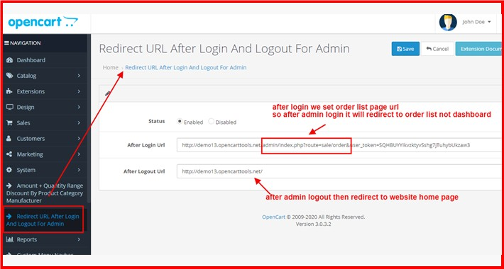 Redirect URL After Login And Logout For Admin