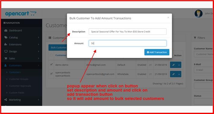 Bulk Customer To Add Amount Transactions
