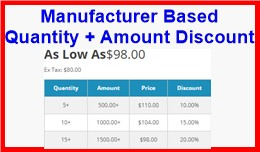 Manufacturer Based Quantity + Amount Discount