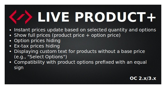 Live Product+ (live price update)