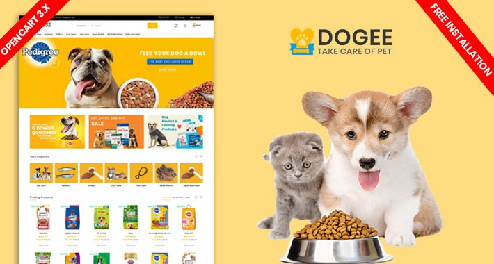 Dogee Petstore Template-Free inatall(Pet Food, Animal, pet shop)