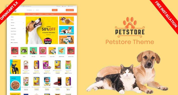 Petstore New Responsive Opencart Theme (Free Installation)