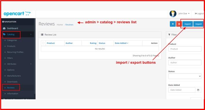 Reviews Import-Export