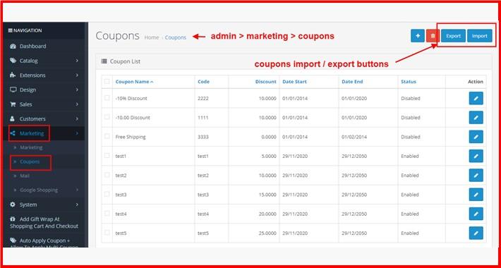 Bulk Coupons Import-Update-Export