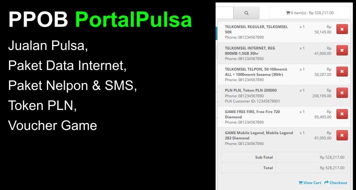 PPOB PortalPulsa - Jual Pulsa, Paket Internet, Token PLN,  dll