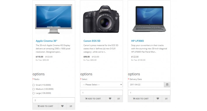 Product options on category listing page