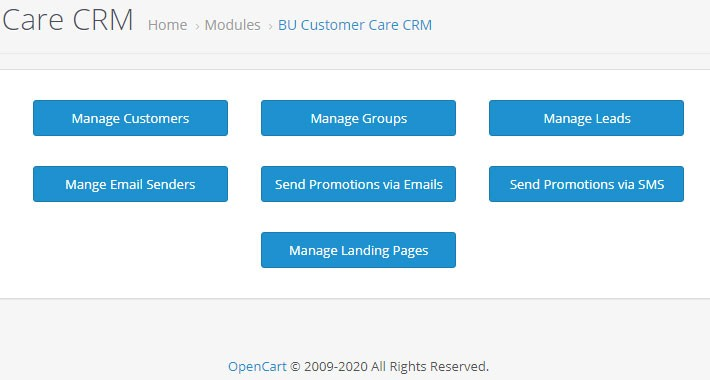 BU Opencart Customer Care CRM