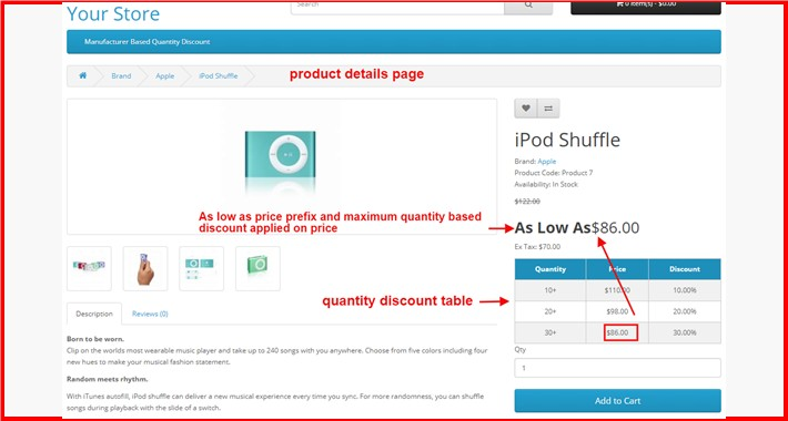Manufacturer Based Quantity Discount