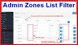 Admin Zones List Filter