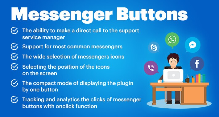 Messenger buttons for Opencart 1.5*-3.*