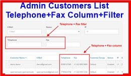 Admin Customers List Telephone+Fax Column+Filter