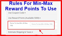 Rules For Min-Max Reward Points To Use