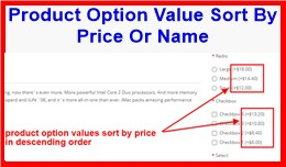 Product Option Value Sort By Price Or Name