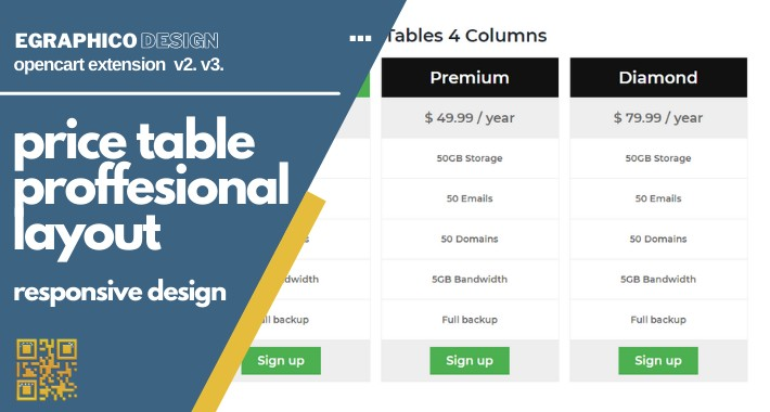 Price table section proffesional banner layout