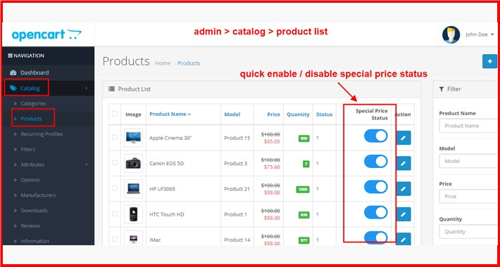 Admin Product Special Price Quick Enable-Disable