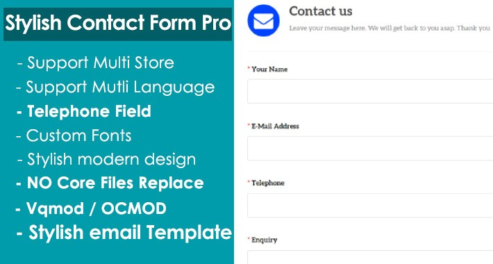 Stylish Contact us Form Pro with TELEPHONE [ Works on any theme]