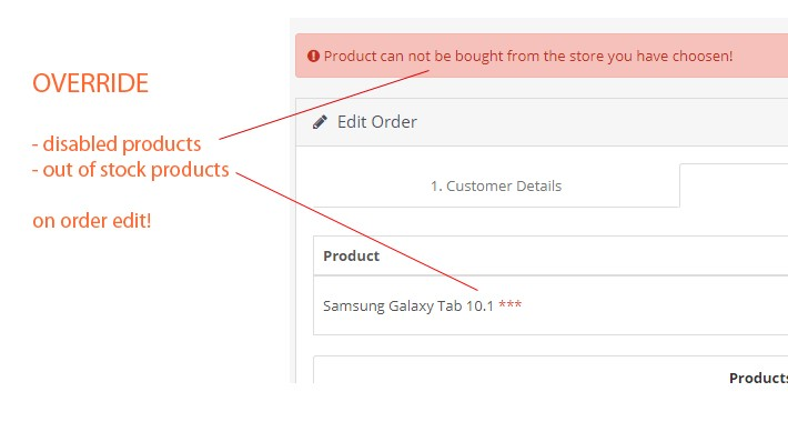 Override out of stock & disabled products on order editing.