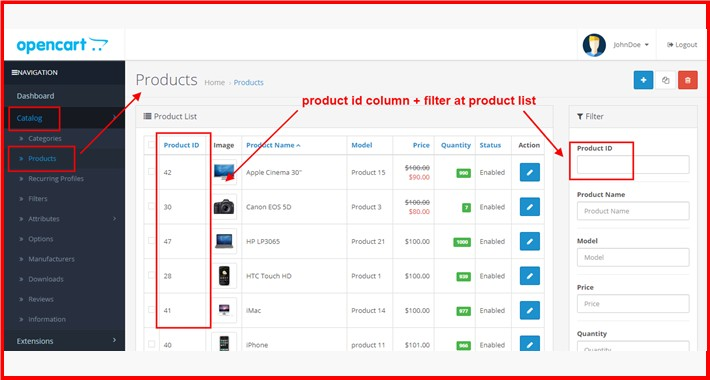 Admin Product List Product ID Column+Filter