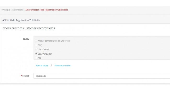 Hide Registration/Edit Fields