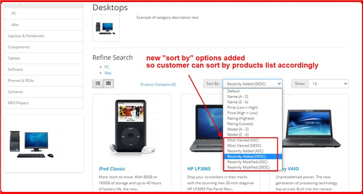 Default Sort By Products At Catalog Page