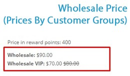Wholesale Price (Prices By Customer Groups)
