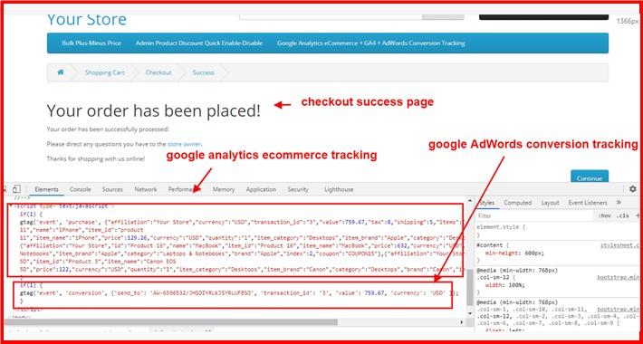 Google Analytics eCommerce + GA4 + AdWords Conversion Tracking